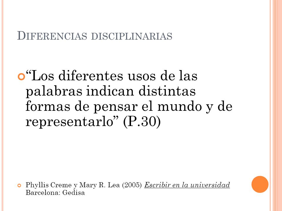 Diferencias disciplinarias