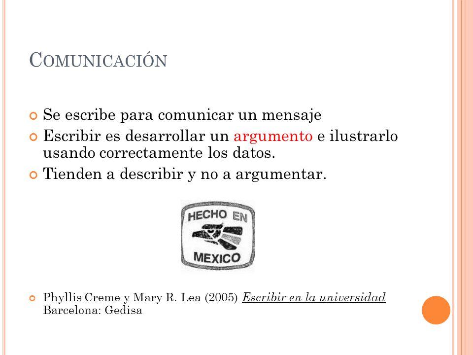 Comunicación Se escribe para comunicar un mensaje
