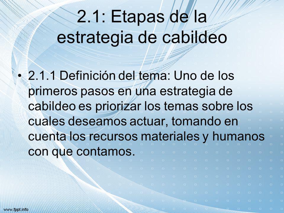 2.1: Etapas de la estrategia de cabildeo