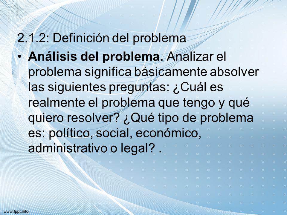 2.1.2: Definición del problema