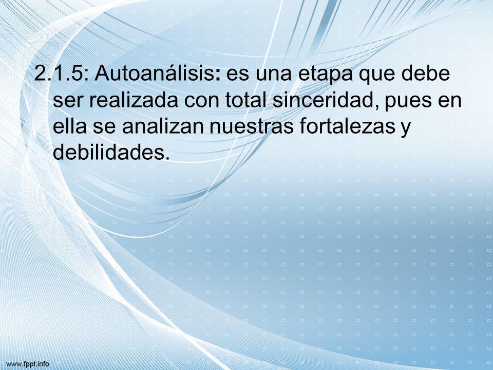 2.1.5: Autoanálisis: es una etapa que debe ser realizada con total sinceridad, pues en ella se analizan nuestras fortalezas y debilidades.
