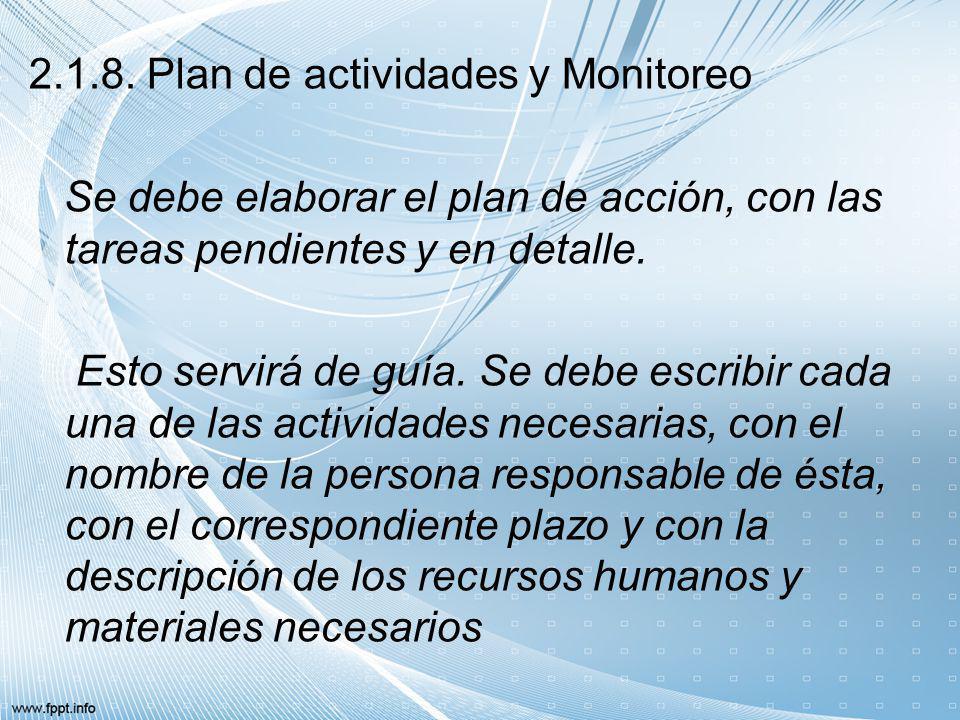 2.1.8. Plan de actividades y Monitoreo