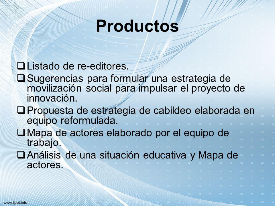 Productos Listado de re-editores.