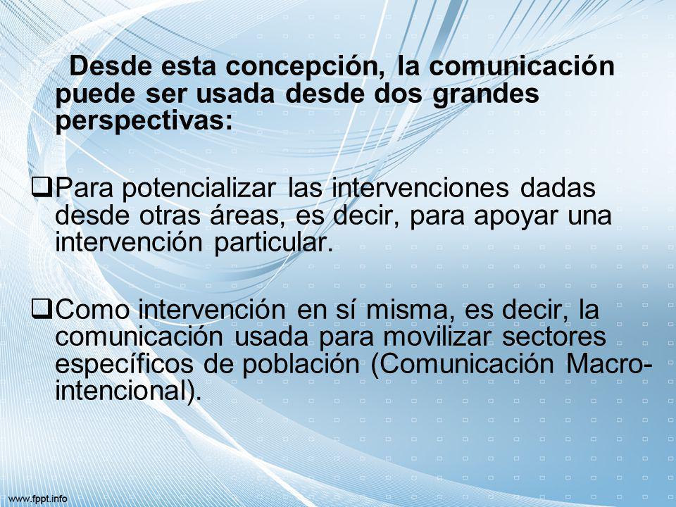 Desde esta concepción, la comunicación puede ser usada desde dos grandes perspectivas: