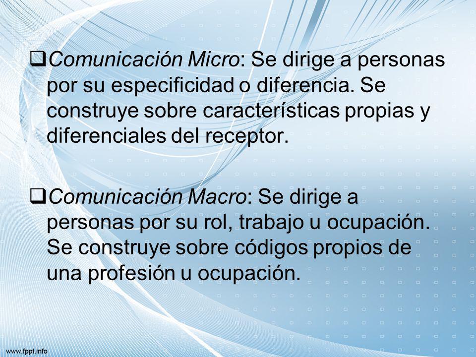 Comunicación Micro: Se dirige a personas por su especificidad o diferencia. Se construye sobre características propias y diferenciales del receptor.