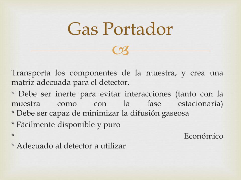 Gas Portador Transporta los componentes de la muestra, y crea una matriz adecuada para el detector.