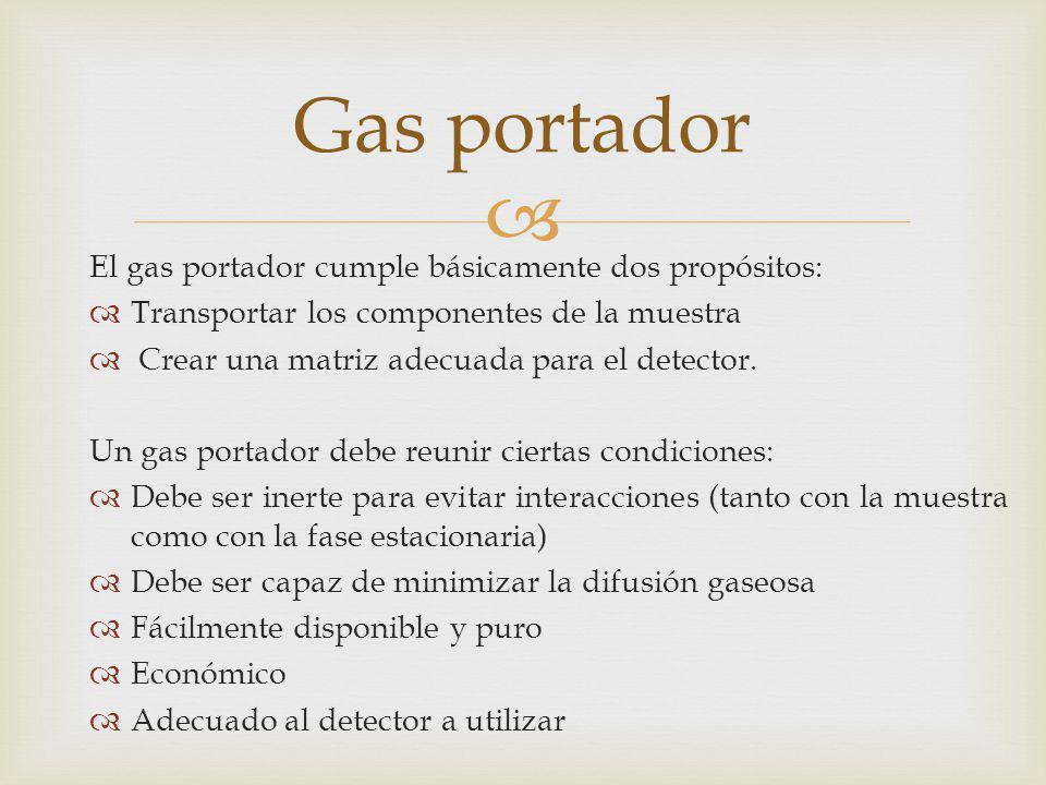 Gas portador El gas portador cumple básicamente dos propósitos: