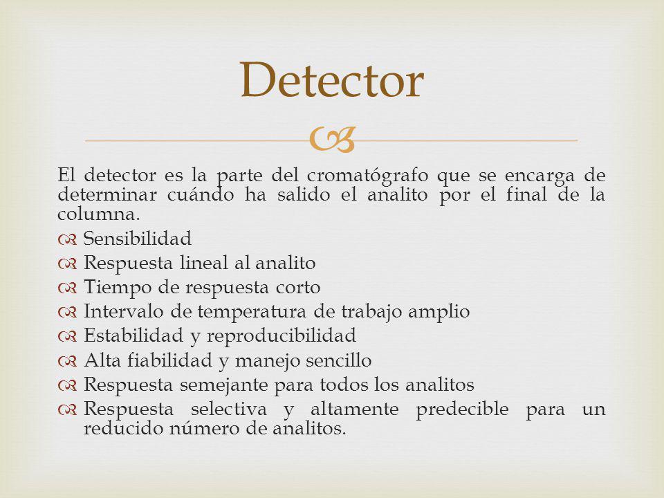 Detector El detector es la parte del cromatógrafo que se encarga de determinar cuándo ha salido el analito por el final de la columna.