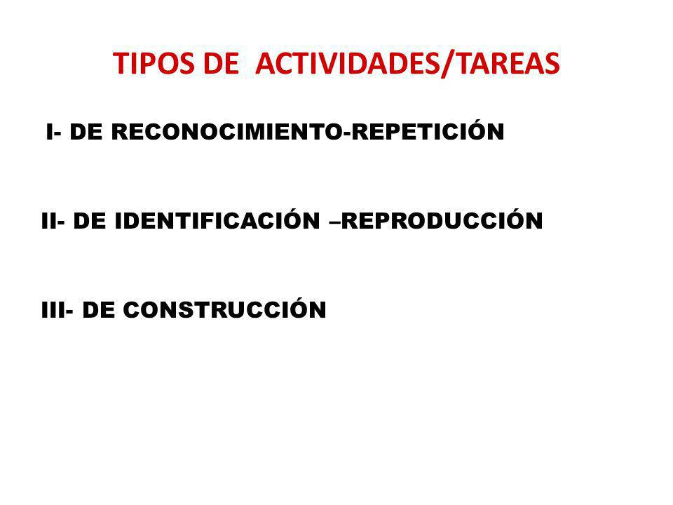 TIPOS DE ACTIVIDADES/TAREAS