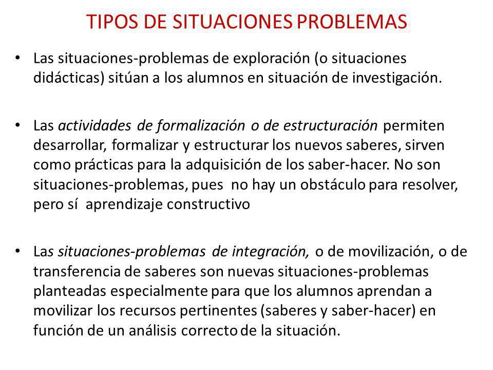 TIPOS DE SITUACIONES PROBLEMAS