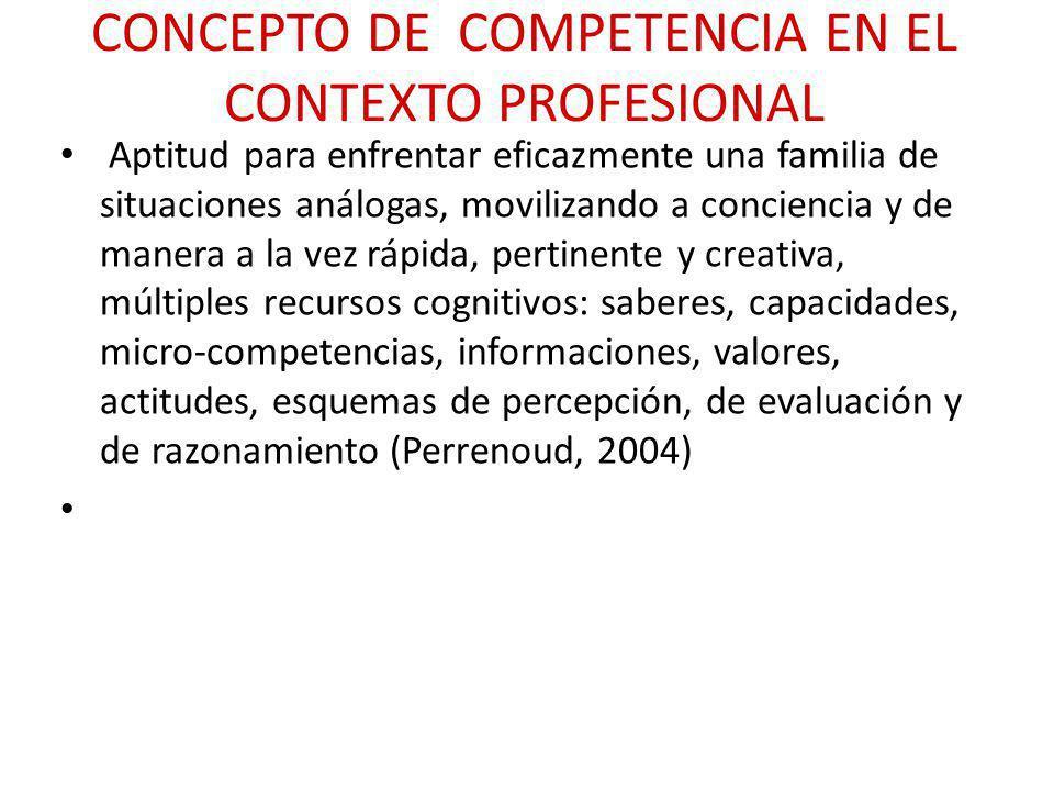 CONCEPTO DE COMPETENCIA EN EL CONTEXTO PROFESIONAL