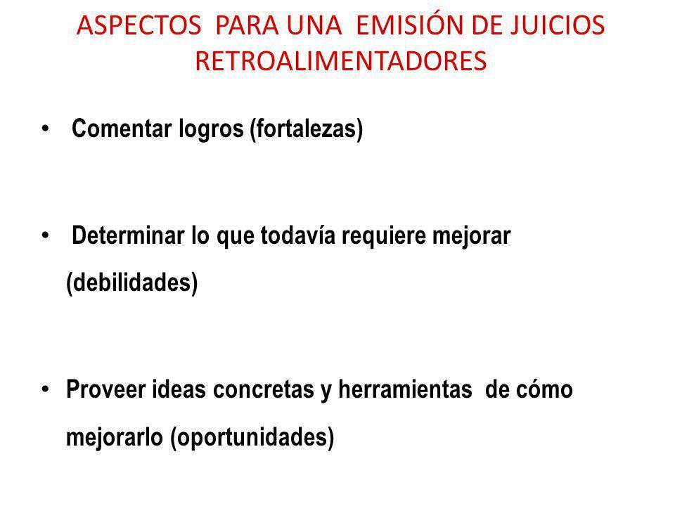 ASPECTOS PARA UNA EMISIÓN DE JUICIOS RETROALIMENTADORES