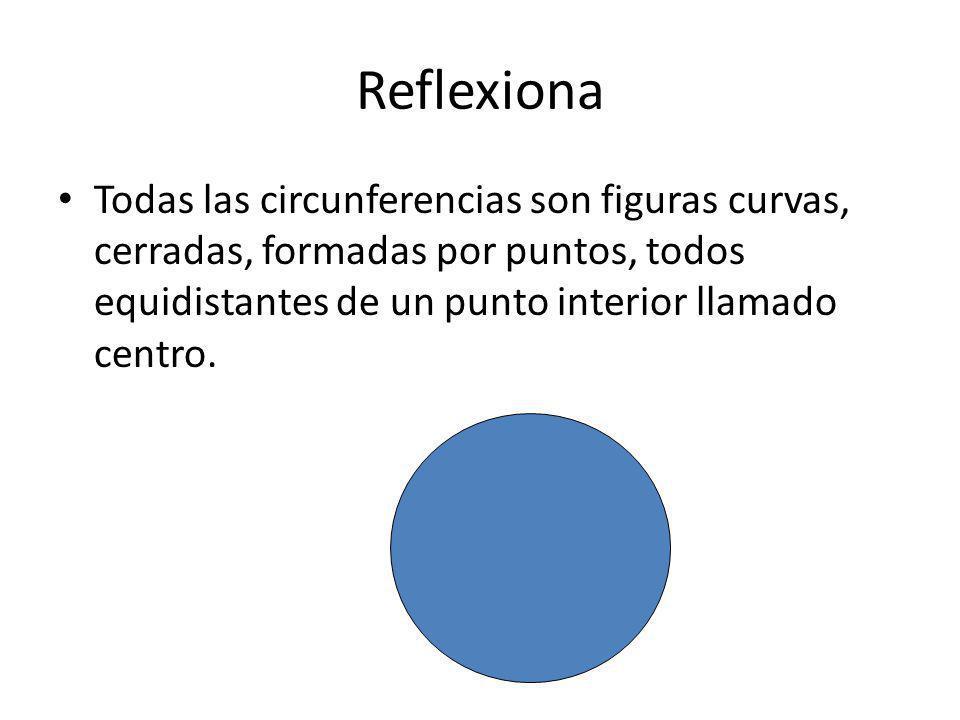 Reflexiona Todas las circunferencias son figuras curvas, cerradas, formadas por puntos, todos equidistantes de un punto interior llamado centro.