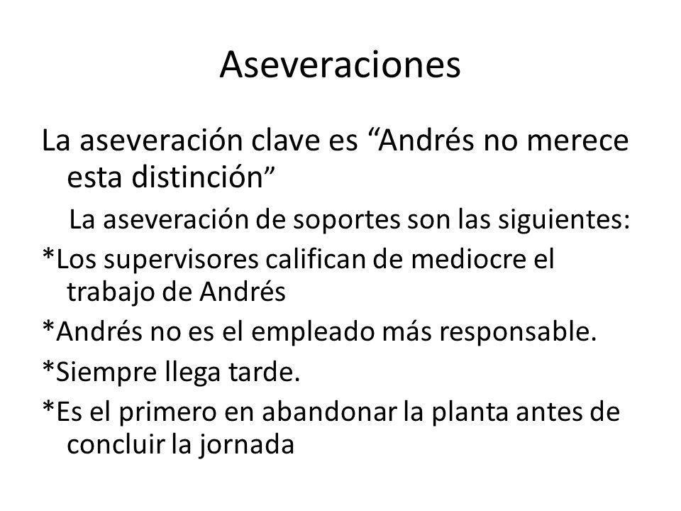 Aseveraciones La aseveración clave es Andrés no merece esta distinción La aseveración de soportes son las siguientes: