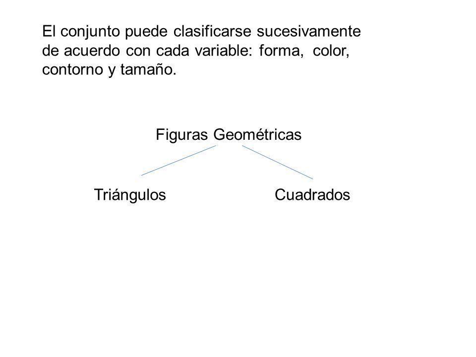 El conjunto puede clasificarse sucesivamente de acuerdo con cada variable: forma, color, contorno y tamaño.