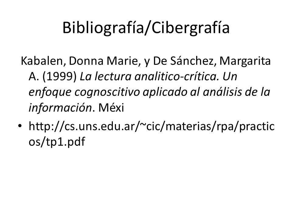 Bibliografía/Cibergrafía