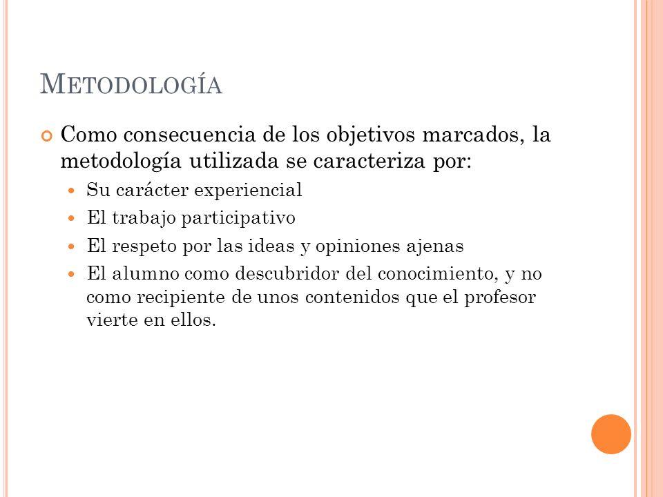 Metodología Como consecuencia de los objetivos marcados, la metodología utilizada se caracteriza por: