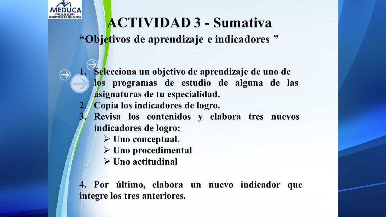 Objetivos de aprendizaje e indicadores