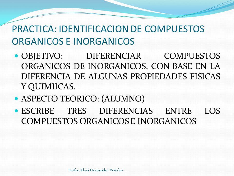 PRACTICA: IDENTIFICACION DE COMPUESTOS ORGANICOS E INORGANICOS