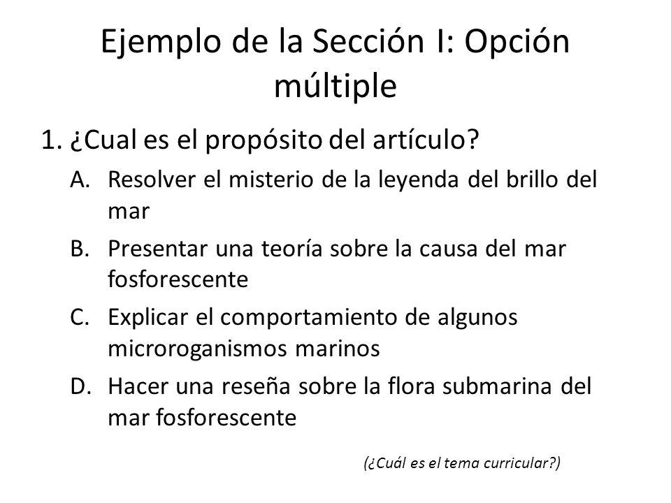 Ejemplo de la Sección I: Opción múltiple