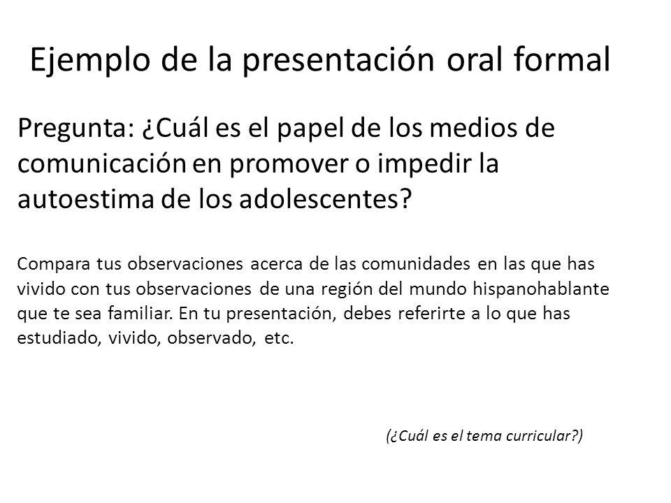 Ejemplo de la presentación oral formal