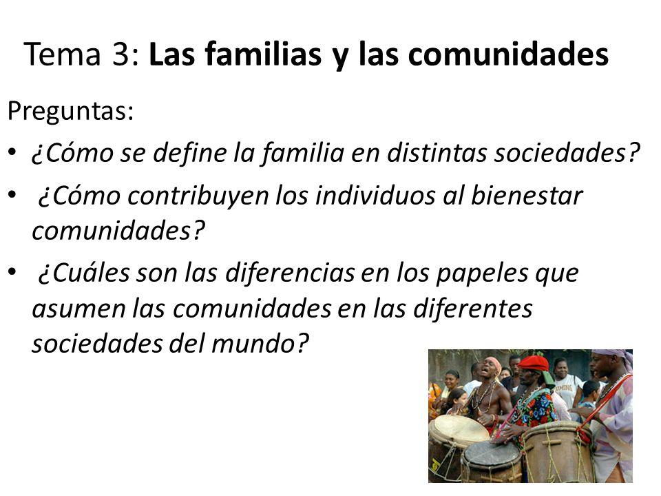 Tema 3: Las familias y las comunidades