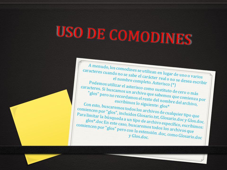USO DE COMODINES