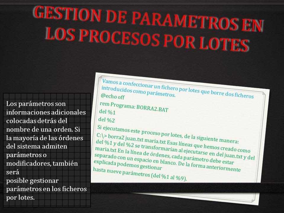 GESTION DE PARAMETROS EN LOS PROCESOS POR LOTES