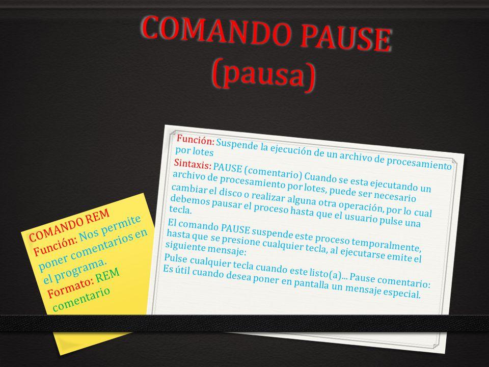 COMANDO PAUSE (pausa) COMANDO REM