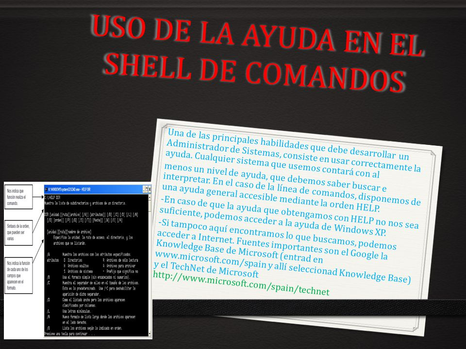 USO DE LA AYUDA EN EL SHELL DE COMANDOS