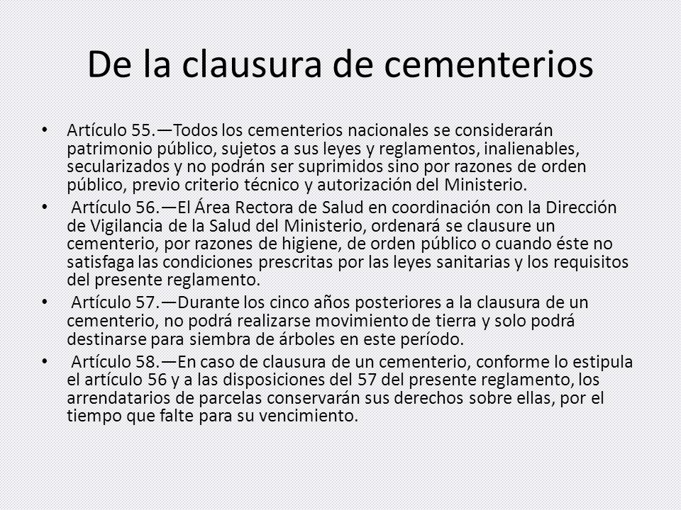 De la clausura de cementerios