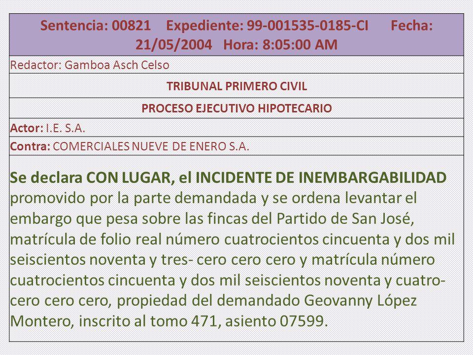 TRIBUNAL PRIMERO CIVIL PROCESO EJECUTIVO HIPOTECARIO