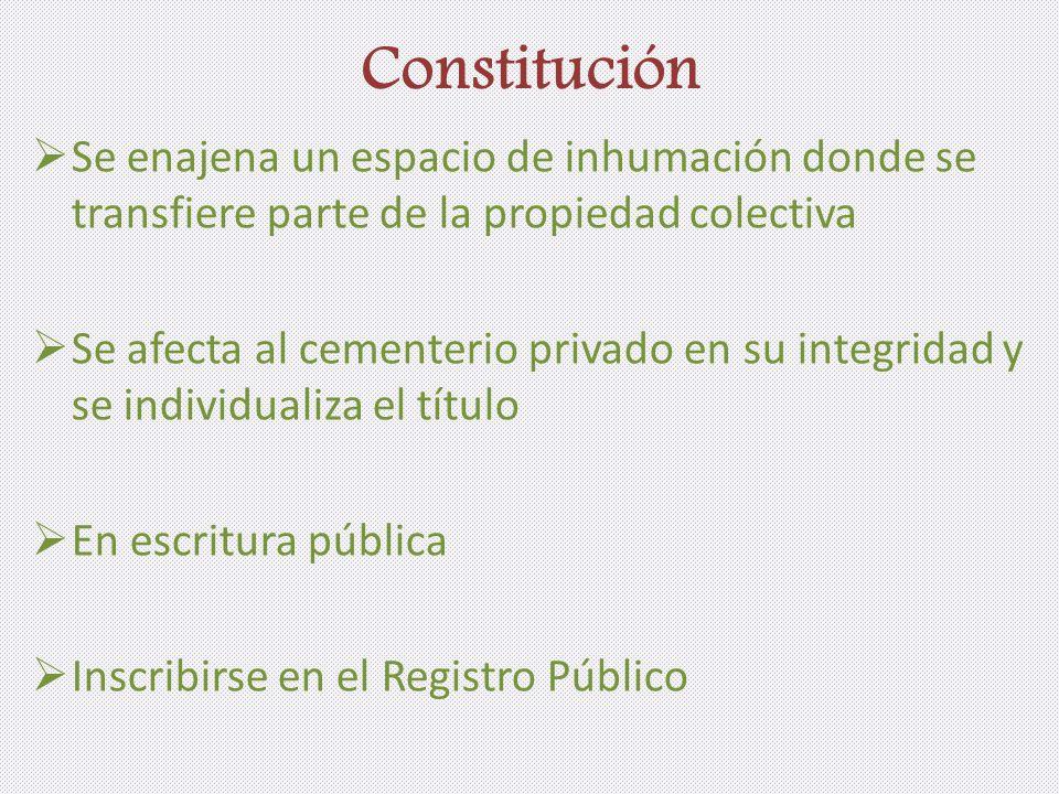 Constitución Se enajena un espacio de inhumación donde se transfiere parte de la propiedad colectiva.