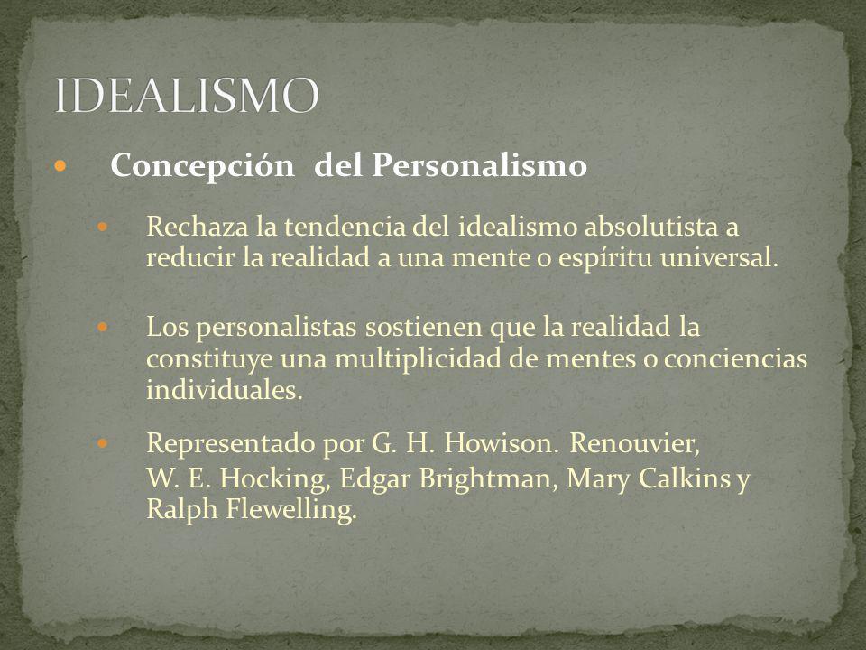 IDEALISMO Concepción del Personalismo