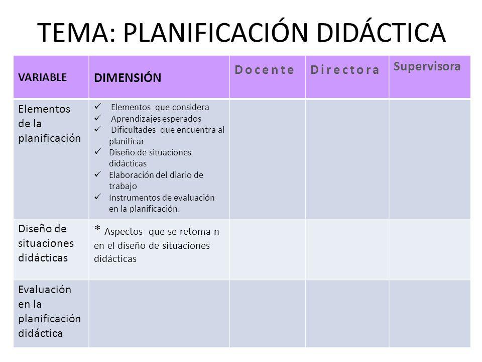 TEMA: PLANIFICACIÓN DIDÁCTICA