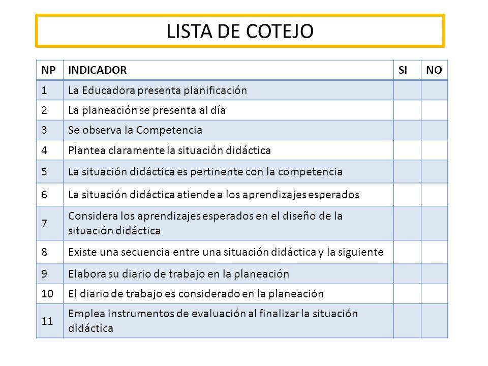 LISTA DE COTEJO NP INDICADOR SI NO 1
