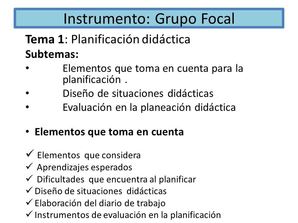 Instrumento: Grupo Focal