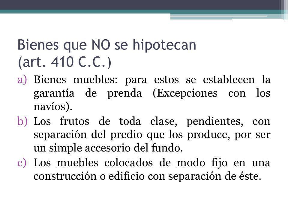 Bienes que NO se hipotecan (art. 410 C.C.)