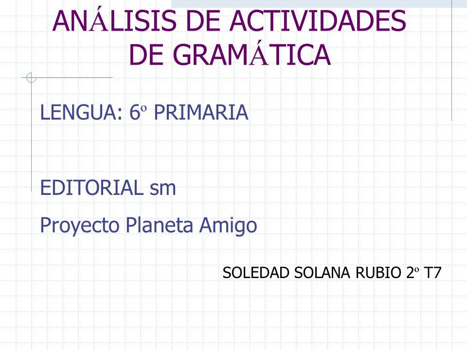 ANÁLISIS DE ACTIVIDADES DE GRAMÁTICA
