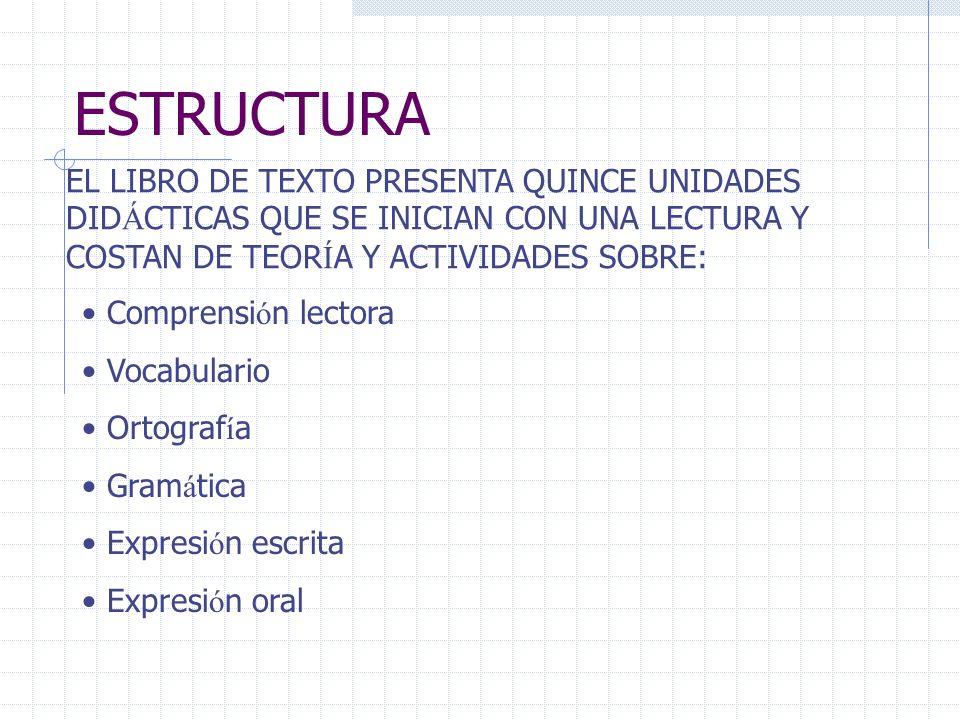 ESTRUCTURA EL LIBRO DE TEXTO PRESENTA QUINCE UNIDADES DIDÁCTICAS QUE SE INICIAN CON UNA LECTURA Y COSTAN DE TEORÍA Y ACTIVIDADES SOBRE: