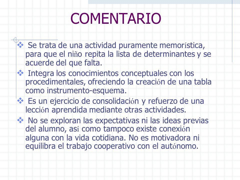 COMENTARIO Se trata de una actividad puramente memorística, para que el niño repita la lista de determinantes y se acuerde del que falta.