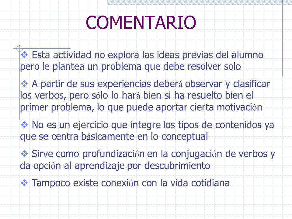 COMENTARIOEsta actividad no explora las ideas previas del alumno pero le plantea un problema que debe resolver solo.