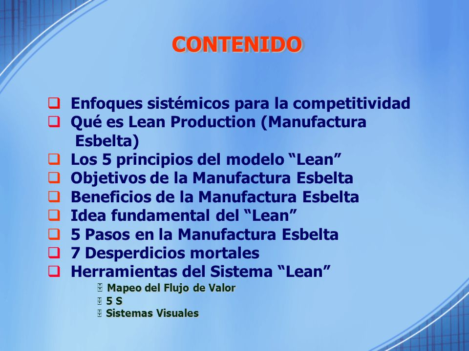 CONTENIDO Enfoques sistémicos para la competitividad