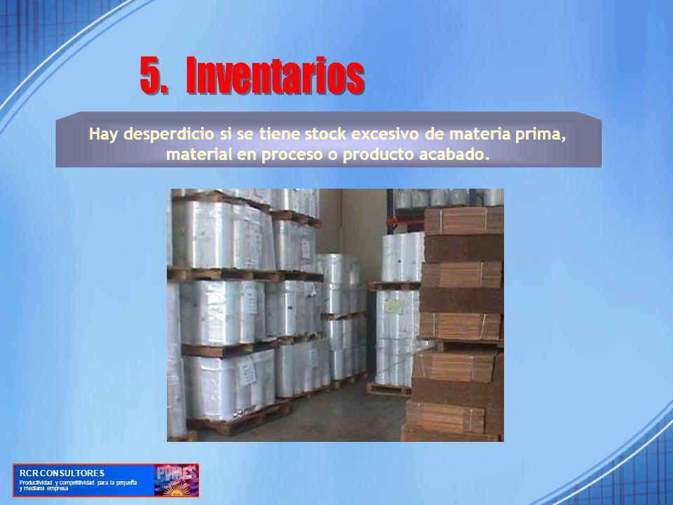 5. Inventarios Hay desperdicio si se tiene stock excesivo de materia prima, material en proceso o producto acabado.