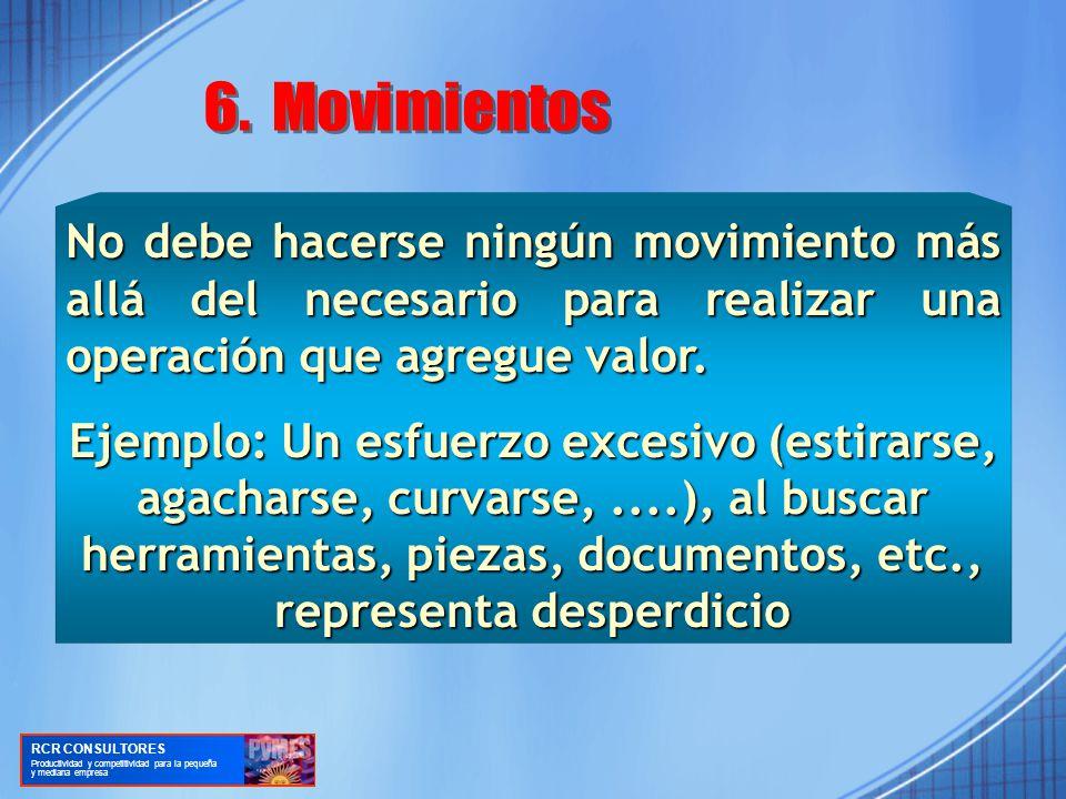 6. Movimientos No debe hacerse ningún movimiento más allá del necesario para realizar una operación que agregue valor.