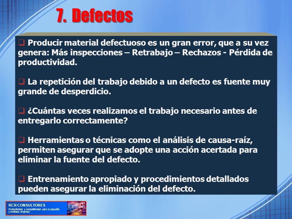 7. Defectos Producir material defectuoso es un gran error, que a su vez genera: Más inspecciones – Retrabajo – Rechazos - Pérdida de productividad.