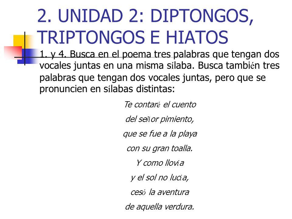 2. UNIDAD 2: DIPTONGOS, TRIPTONGOS E HIATOS