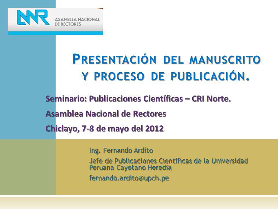 Presentación del manuscrito y proceso de publicación.
