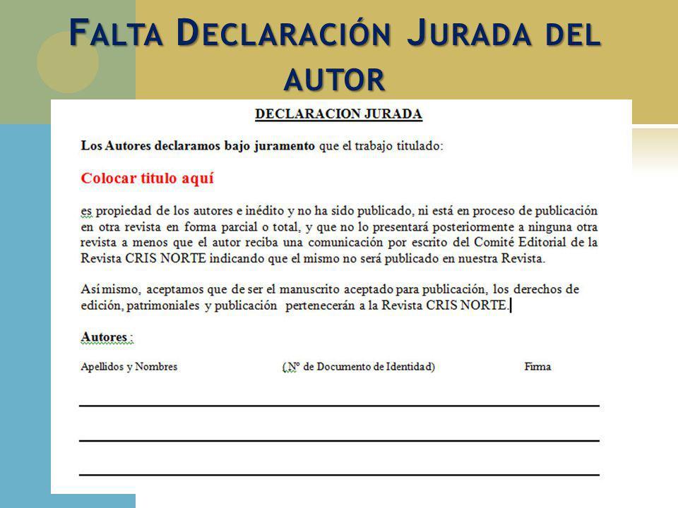 Falta Declaración Jurada del autor