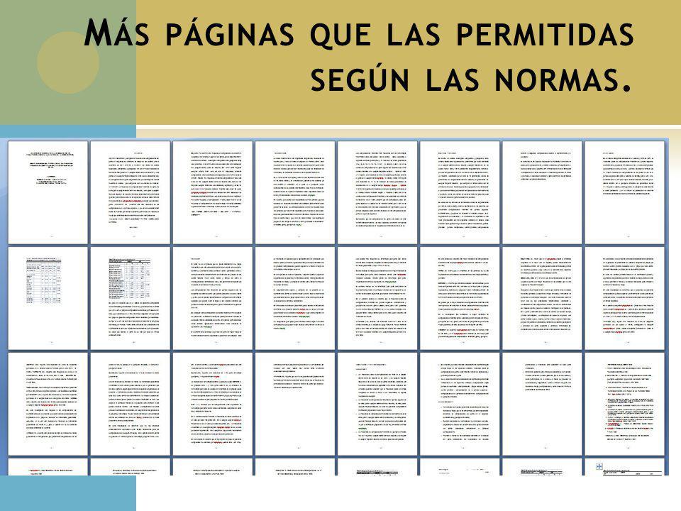 Más páginas que las permitidas según las normas.